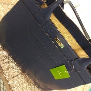 Kate Spade Charm City Ostrich bag in Navy Blue